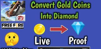 how to convert Gold coins into Diamonds in free fire, How to convert Glod into diamonds in free fire 2021