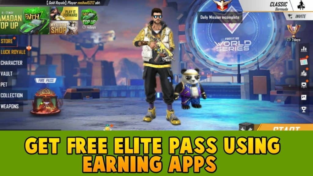 Get free elite pass using Earning apps