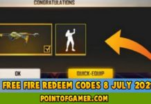 Free Fire Redeem codes 8 July 2021