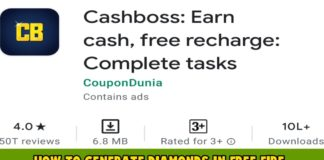How to generate diamonds in free fire using Cashboss app