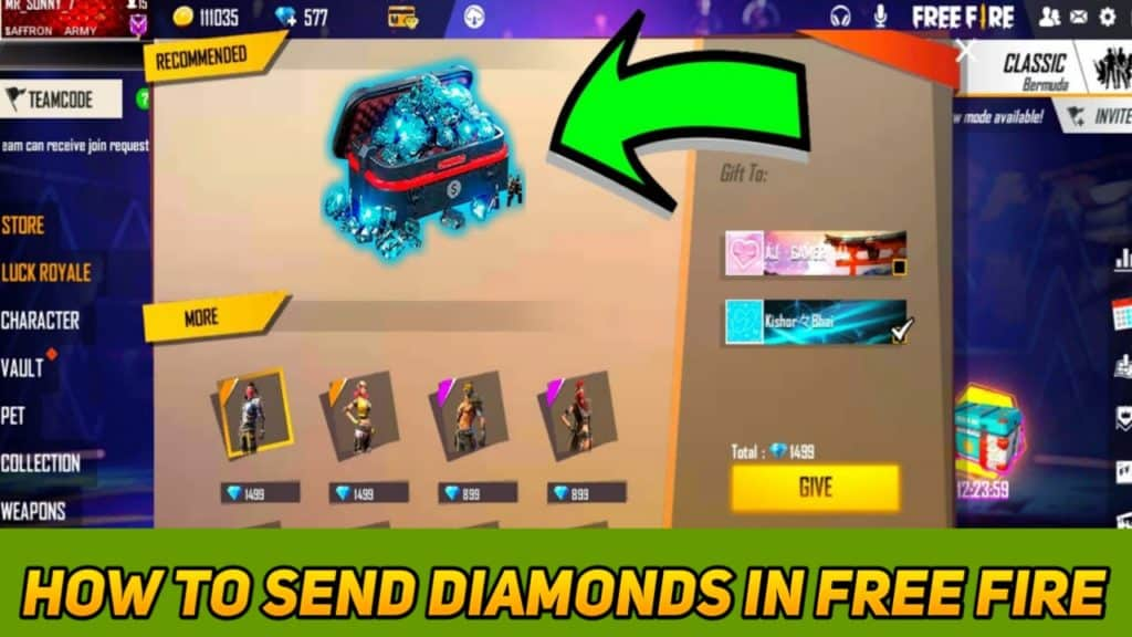 How to send diamonds in free fire